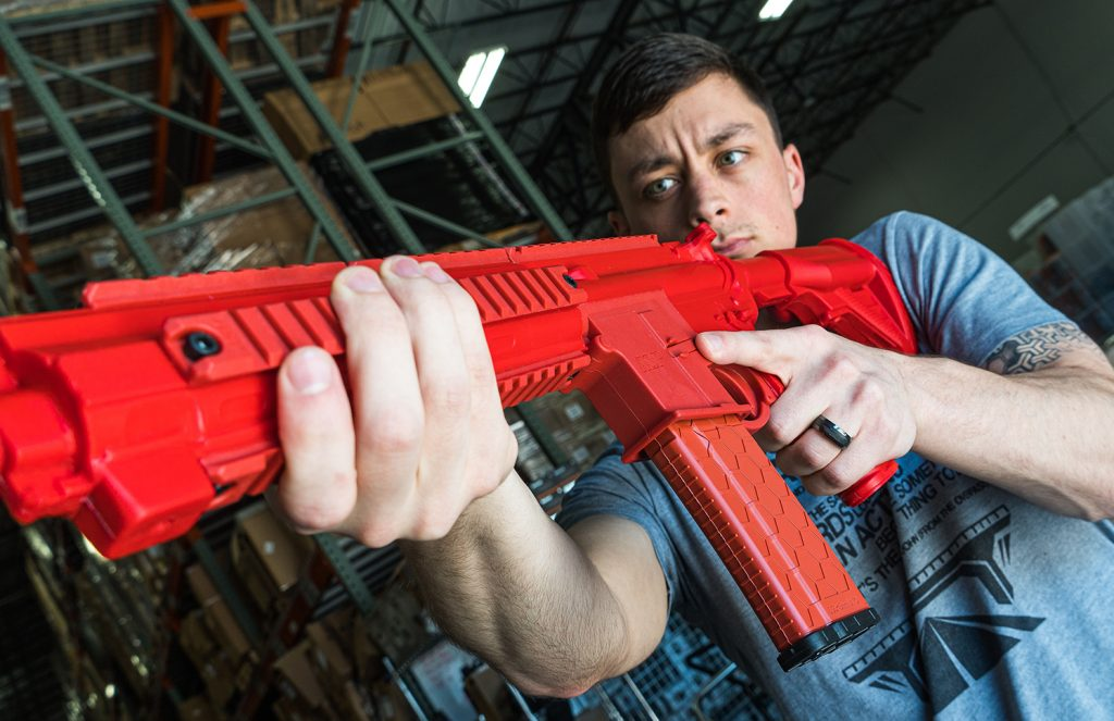 The ASP Red Gun's rigidity lends itself to a consistent shoulder placement and cheek weld with the butt stock.